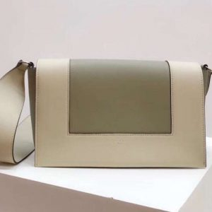 Replica Celine Medium Frame Shoulder Bag Smooth Calfskin Leather Green/Beige