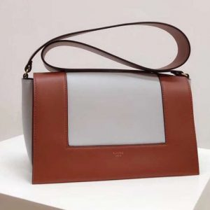 Replica Celine Medium Frame Shoulder Bag Smooth Calfskin Leather Brown/White