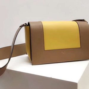 Replica Celine Medium Frame Shoulder Bag Smooth Calfskin Leather Brown/Yellow