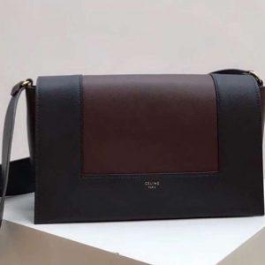 Replica Celine Medium Frame Shoulder Bag Smooth Calfskin Leather Black/Wine