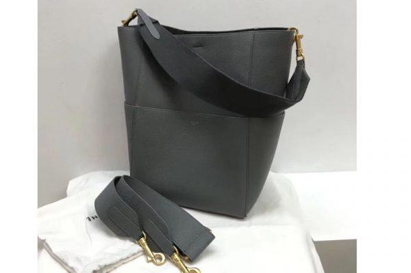 Replica Celine Sangle Bucket Bag in Smooth Calfskin Leather Grey