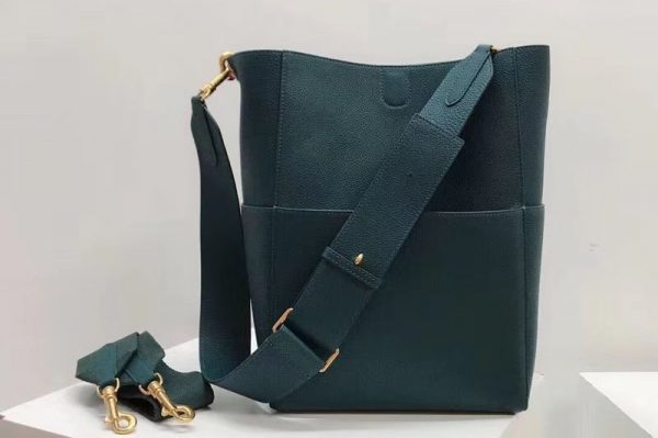 Replica Celine Sangle Bucket Bag in Smooth Calfskin Leather Green