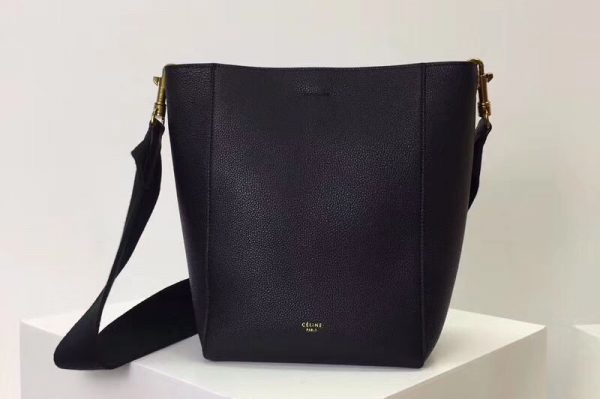 Replica Celine Sangle Small Bucket Bags Soft Grained Calfskin Leather Black