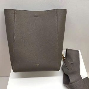 Replica Celine Sangle Small Bucket Bags Soft Grained Calfskin Leather Gray