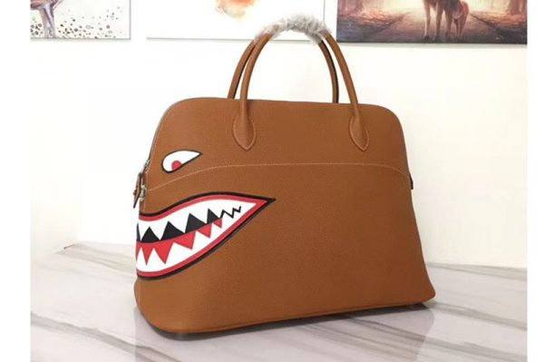 Replica Hermes Limited Edition Shark 45cm Bolide Bags Original Togo Leather Tan