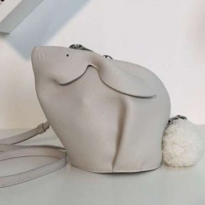 Replica Loewe Bunny Mini Bag Soft Grained Calf White