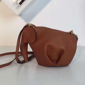 Replica Loewe Elephant Mini Bag Classic Calf Leather Brown