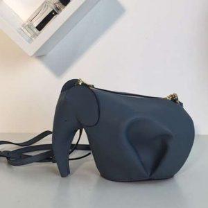 Replica Loewe Elephant Mini Bag Classic Calf Leather Blue