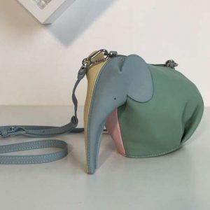 Replica Loewe Elephant Mini Bag Classic Calf Leather Green/Pink/Blue/Yellow