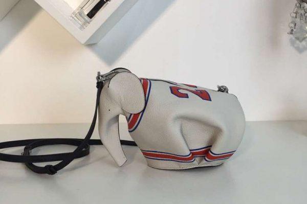 Replica Loewe Elephant Mini Bag Classic Calf Leather White