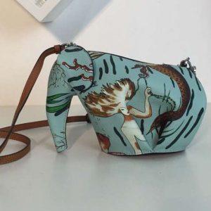 Replica Loewe Elephant Mini Bag Classic Calf Leather Green