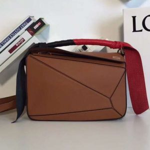 Replica Loewe Puzzle Bags Original Calf Leather Brown