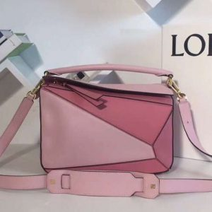 Replica Loewe Puzzle Bags Original Calf Leather Pink/Light Pink/White
