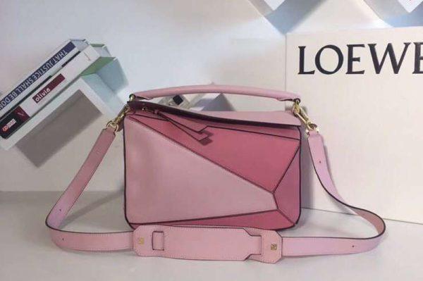 Replica Loewe Puzzle Bags Original Calf Leather Pink/Light Pink