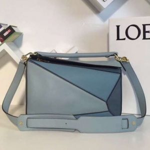 Replica Loewe Puzzle Bags Original Calf Leather Blue/Light Blue