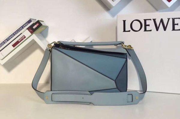 Replica Loewe Puzzle Bags Original Calf Leather Blue/Light Blue