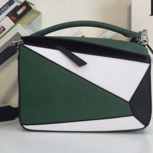 Replica Loewe Puzzle Bags Original Calf Leather Green/White/Black