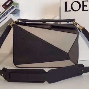 Replica Loewe Puzzle Bags Original Calf Leather Grey/Beige/Dark Brown