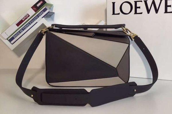 Replica Loewe Puzzle Bags Original Calf Leather Grey/Beige/Dark Brown