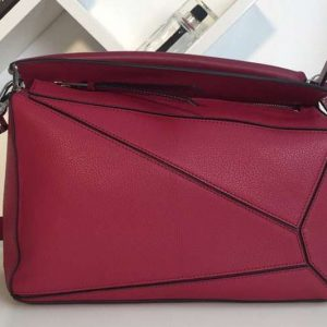Replica Loewe Puzzle Bags Original Calf Leather Fuchsia
