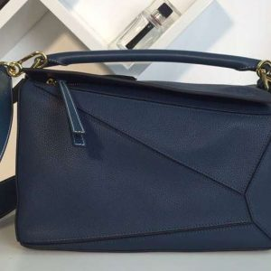 Replica Loewe Puzzle Bags Original Calf Leather Dark Blue