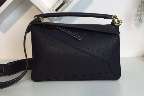 Replica Loewe Puzzle Bags Original Calf Leather Black