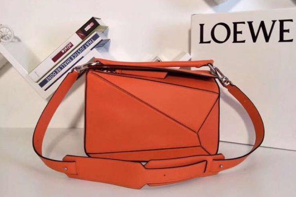 Replica Loewe Puzzle Bags Original Calf Leather Orange