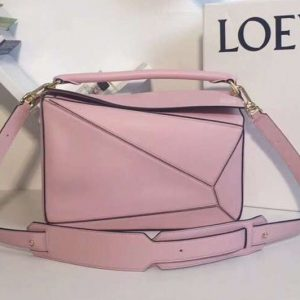 Replica Loewe Puzzle Bags Original Calf Leather Pink