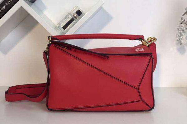 Replica Loewe Puzzle Bags Original Calf Leather Red