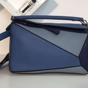 Replica Loewe Puzzle Bags Original Calf Leather Blue/Light Blue/Dark Blue