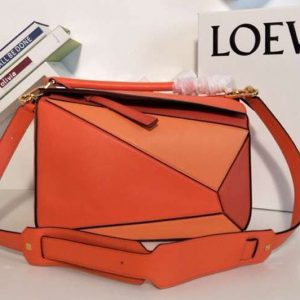 Replica Loewe Puzzle Bags Original Calf Leather Orange/Red