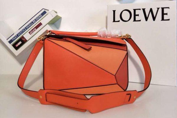 Replica Loewe Puzzle Bags Original Calf Leather Orange/Red