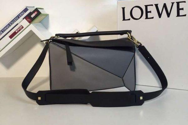 Replica Loewe Puzzle Bags Original Calf Leather Black/Grey/Blue