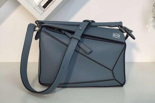 Replica Loewe Puzzle Small Bags Original Calf Leather Blue