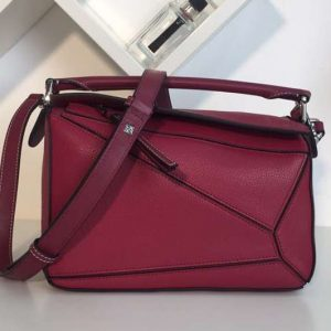Replica Loewe Puzzle Small Bags Original Calf Leather Fuchsia
