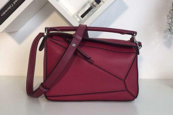 Replica Loewe Puzzle Small Bags Original Calf Leather Fuchsia