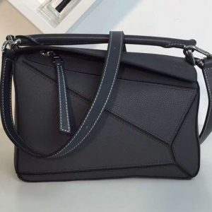 Replica Loewe Puzzle Small Bags Original Calf Leather Dark Grey