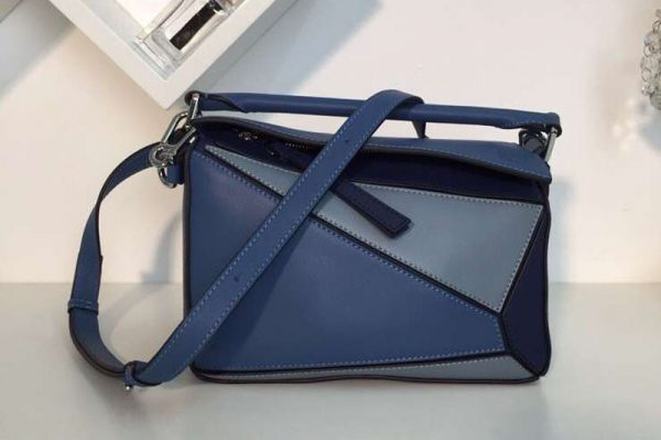 Replica Loewe Puzzle Small Bags Original Calf Leather Light Blue/Blue