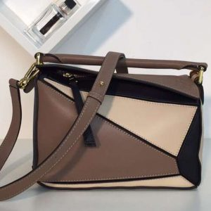 Replica Loewe Puzzle Small Bags Original Calf Leather Light Brown/Beige/Black