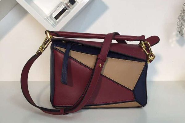Replica Loewe Puzzle Small Bags Original Calf Leather Blue/Brown