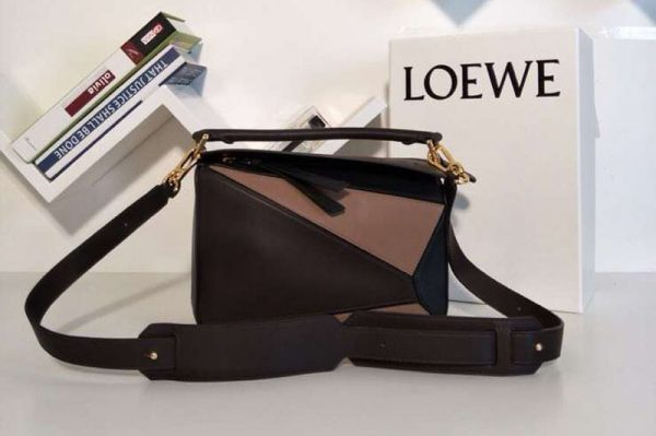 Replica Loewe Puzzle Small Bags Original Calf Leather Coffee/Pink