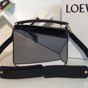 Replica Loewe Puzzle Small Bags Original Calf Leather Grey/Blue