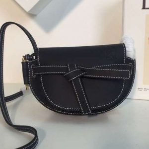 Replica Loewe Mini Gate Bags Original Soft Calf Leather Black