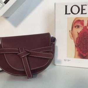 Replica Loewe Mini Gate Bags Original Soft Calf Leather Wine