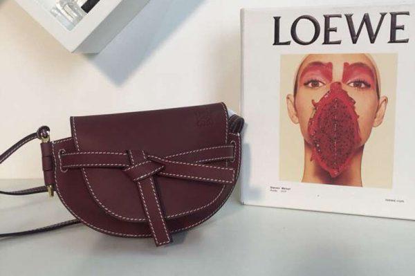 Replica Loewe Mini Gate Bags Original Soft Calf Leather Wine