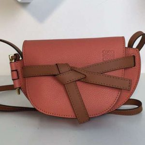 Replica Loewe Mini Gate Bags Original Soft Calf Leather Pink