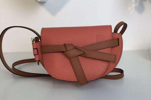 Replica Loewe Mini Gate Bags Original Soft Calf Leather Pink