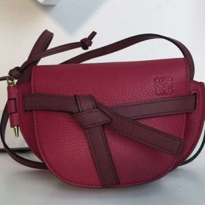 Replica Loewe Mini Gate Bags Original Soft Calf Leather Fushsia