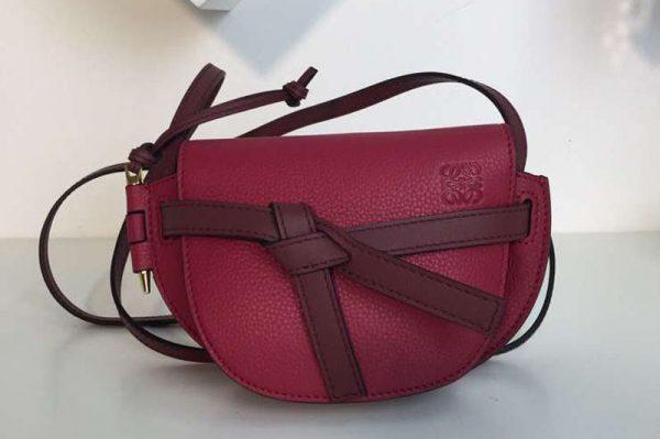 Replica Loewe Mini Gate Bags Original Soft Calf Leather Fushsia