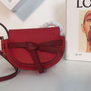 Replica Loewe Mini Gate Bags Original Soft Calf Leather Red